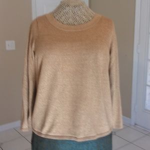 Gold Shimmer Long Sleeve Knit Top